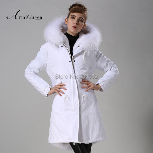 New Fashion Warm Women Slim Long canvas Jacket Fur Collar Parka white long coat with mrs fur lined Winter Coat Factory Price 3
