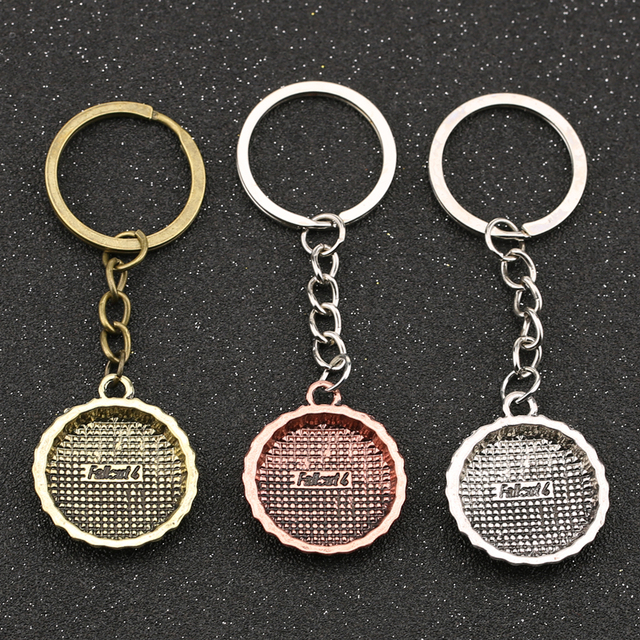 Fallout 4 Nuka Cola Keychain Fall out 3 Drink Bottle Cap Vintage Antique Bronze Silver Color Keyring Key Chain Ring Wholesale 2