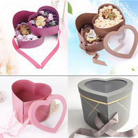 Heart Double Rotating Box Flower Packing Box With European Transparent PVC Lid Dumb Gold Line Gift Box Flower Bouquet Package