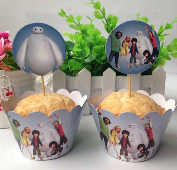 Free Shipping 24Pcs12pcs Wrapper 12pcs Topper Big Hero 6 Baymax Cupcake Birthday Party Decoration Favors