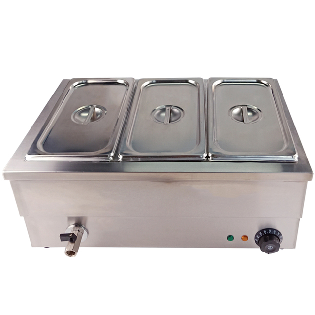 Electric Deep Soup Stove Professional Kitchen Equipment Bain Marie Table-Top 3 Pots For Buffet Commercial Restaurant