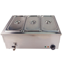 Electric Deep Soup Stove Professional Kitchen Equipment Bain Marie Table Top 3 Pots For Buffet Commercial Restaurant