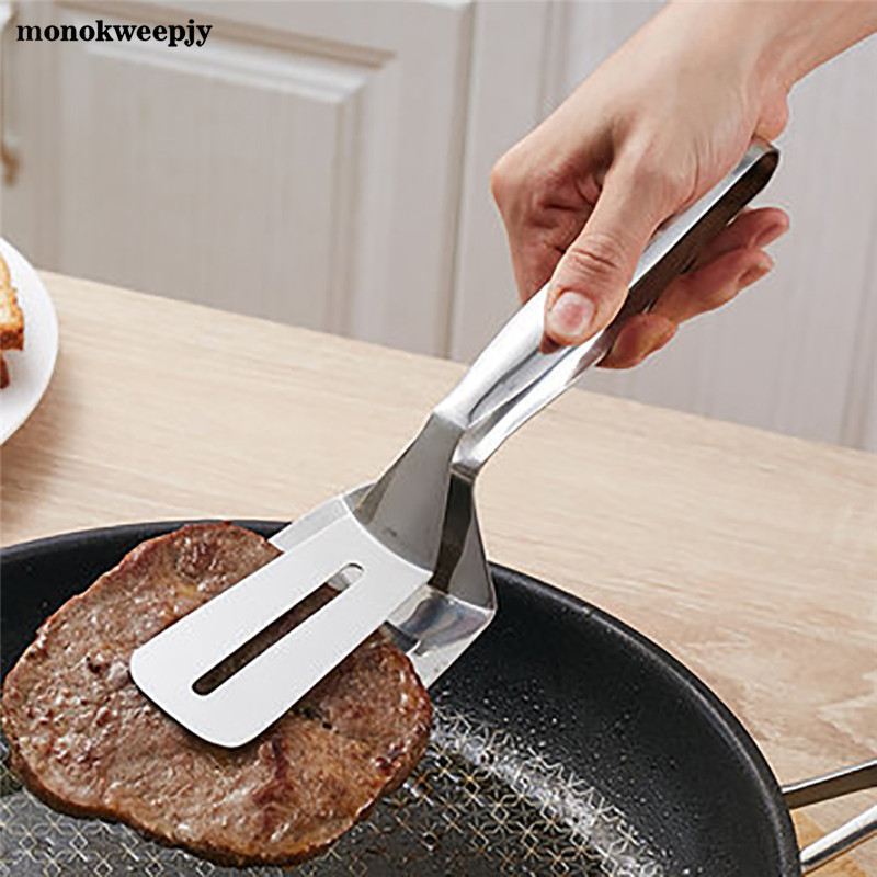 1PC New Stainless Steel BBQ Tongs Barbecue Clips Fried Meat Bread Shovel Vegetable Clamp Cookware