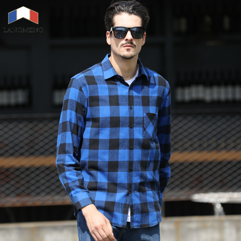 Langmeng 2017 brand 100 cotton flannel men shirt slim fit for Mens slim fit flannel shirt