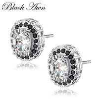 [BLACK AWN] Genuine 100% 925 Sterling Silver Fine Jewelry Classic Wedding Earrings for Women Female Black&White T136
