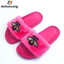 AoXunLong Új Bee Papucsok Női Diák Divat Furry Red Home Papucsok Lakások Flip Flops Nők Rózsaszín Szőrme Papucs Peluche 36-41