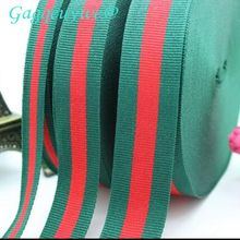 50yards 1cm 2cm 3cm Christmas green and red stripes Ribbon packaging ribbon plain polyester twill