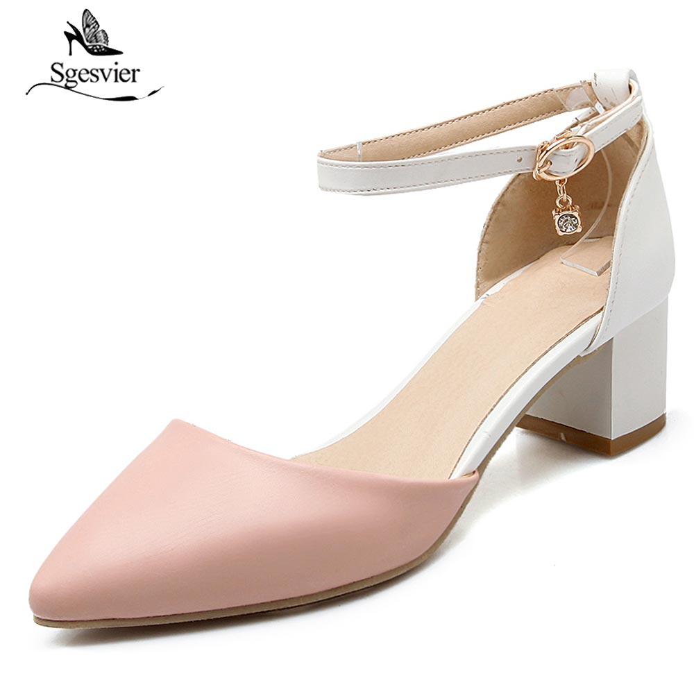 Sgesvier <font><b>2018</b></font> <font><b>Sexy</b></font> High Heels Women Dress <font><b>Sandals</b></font> Cover Heel Buckle Straps Fashion Thick Heel Women Pointed Toe <font><b>Sandals</b></font> OX470 image