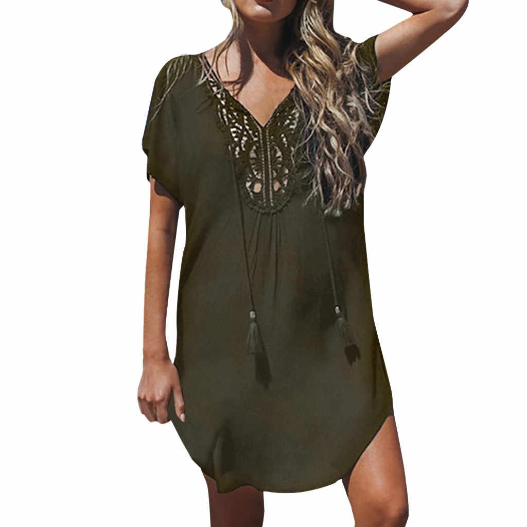 JAYCOSIN kleding jurk Vrouwen Kanten Stiksels Mini Jurk Diepe V-hals Fashion Beach Zomer pure kleur Jurk