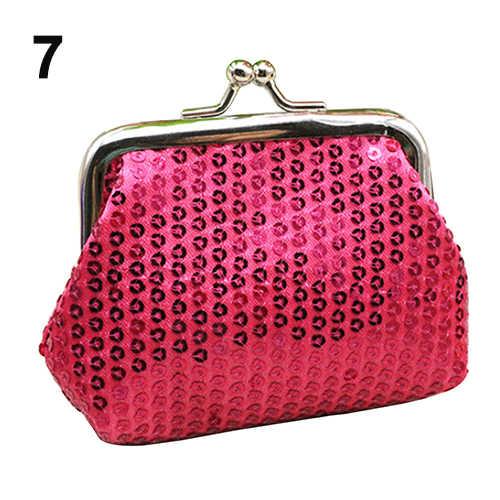الترتر مشبك المرأة تغيير صغير محفظة نسائية للعملات المعدنية مخلب مفيد حقيبة المحفظة