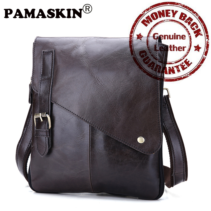 PAMASKIN European And American Style High Quality Designer Genuine Leather Shoulder Bag Practical Casual Men Messenger Bags
