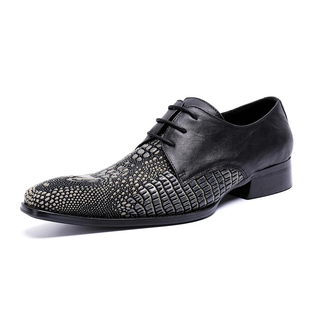 Partido Misturadas Pic Deificação Cores Couro Mens Formal Size Praça As Homme Homens Chaussure Sapatos De Genuíno Plus Toe Casamento Flats 00C7Hp