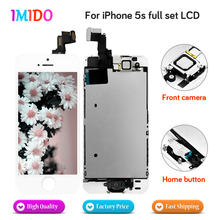 цена на 50pcs AAA+++Quality Full Set LCD Display For iPhone 5S Home button+Front camera  LCD display Touch screen Digitizer Assembly