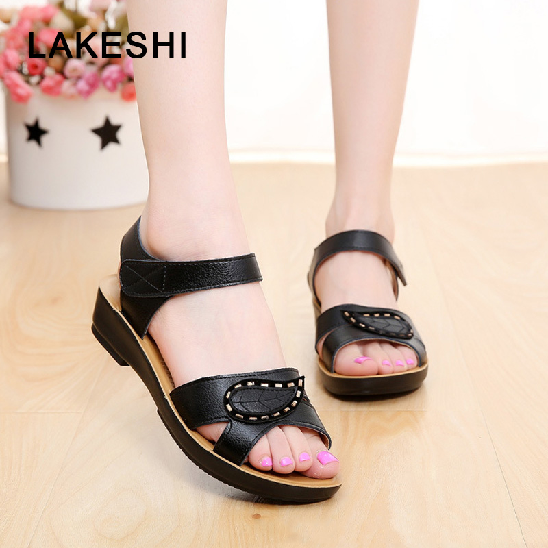 LAKESHI Summer Women Sandals Fashion Mother Beach Shoes Women Flats Wedge Soft Leather Shoes Casual Sandals Open Toes girl shoes in sri lanka