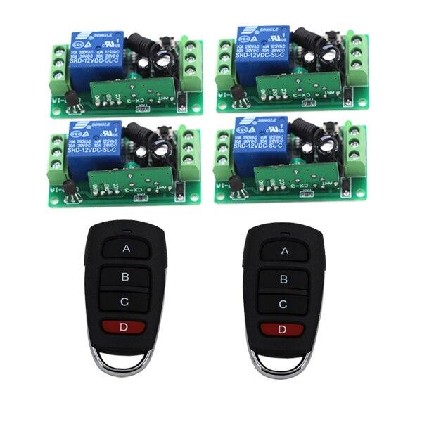 DC12V Wireless 3 Ways Working Digital Remote Control Switch LED Lights Lamp Remote Control Switch 2Transmitter 4 Receiver 3409 2 working ways rf wireless intelligent