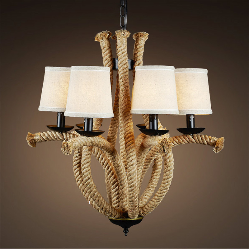 LOFT retro hemp rope chandelier creative personality Cafe Hotel lamp iron American restaurant lighting 6 heads lamps ZA829714 creative personality hemp rope chandelier cafe bar decor hotel restaurant aisle american country retro water anchor lamp lights