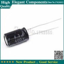 20 قطعة 4.7 فائق التوهج 400 فولت 400 فولت 4.7 فائق التوهج مكثفات كهربائية من الألومنيوم مقاس 8*12 مللي متر 400 فولت/4.7 فائق التوهج مُكثَّف كهربائيًا
