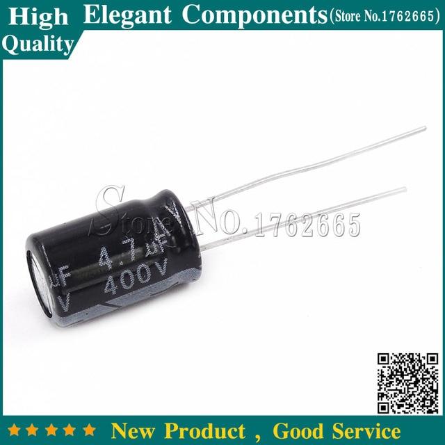20 piezas 4,7 UF, 400 V, 400 V, 4,7 UF, condensadores electrolíticos de aluminio, tamaño 8x12mm, 400 V/4,7 UF, condensador electrolítico
