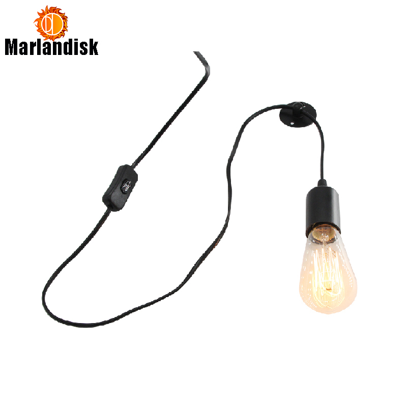 Vintage Creative Wall Lamps Edison 1.5M Wire Wall Lamp Bedside Indoor Lights In Living Room Bar Dining Room Study(WG-50)