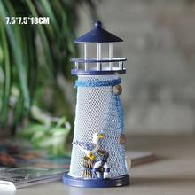 House Home Ornament Furnishing Maritime Crafts Beacon Decoration Lighthouse High Nautical Lighthouse Tea Light Candle Holder(China)