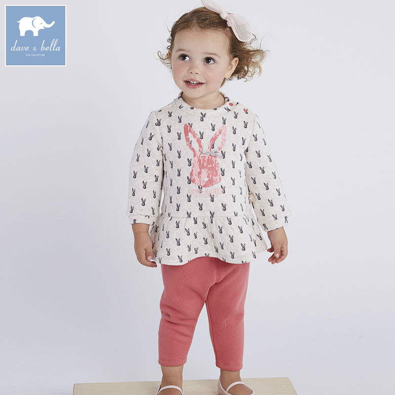купить DBM6306 dave bella autumn infant baby girls clothing sets kids rabbit suit children toddler outfits high quality clothes по цене 2659.95 рублей