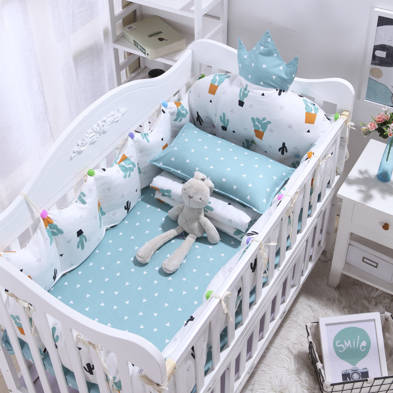 4pcs Cotton INS Crown Type Cradle Protector Barrier For Bed Baby Bedroom  Bed Linen  Baby Room Decoration Bed Decor