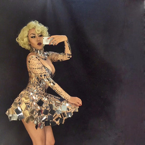Image 5 - Singer mirror dress stage dance wears Sparkly Silver Sequins Bodysuit Dress Rhinestone Costume