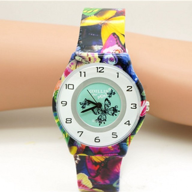 New Fashion child Waterproof butterfly Design Analog lady women Wrist Watch Chil