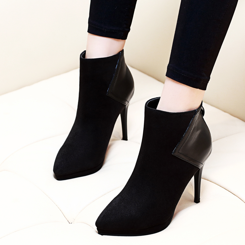 New Black Flock Leather Patchwork Ankle Boots Women's Fashion Female Pointed Toe Zip Stiletto Thin High Heel Sexy Shoes CH-A0013 sexy women boots solid flock suede zip high heels boots lady stiletto pointed toe ankle boots martin boot red white black