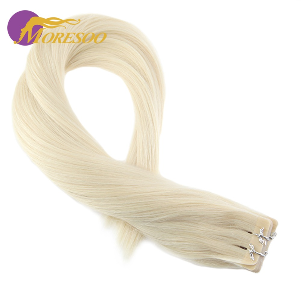 Moresoo Remy Tape Hair Extensions Real Brazilian Human Hair Skin Weft Platinum Blonde #60 Tape in Hair #60 20PCS 50G