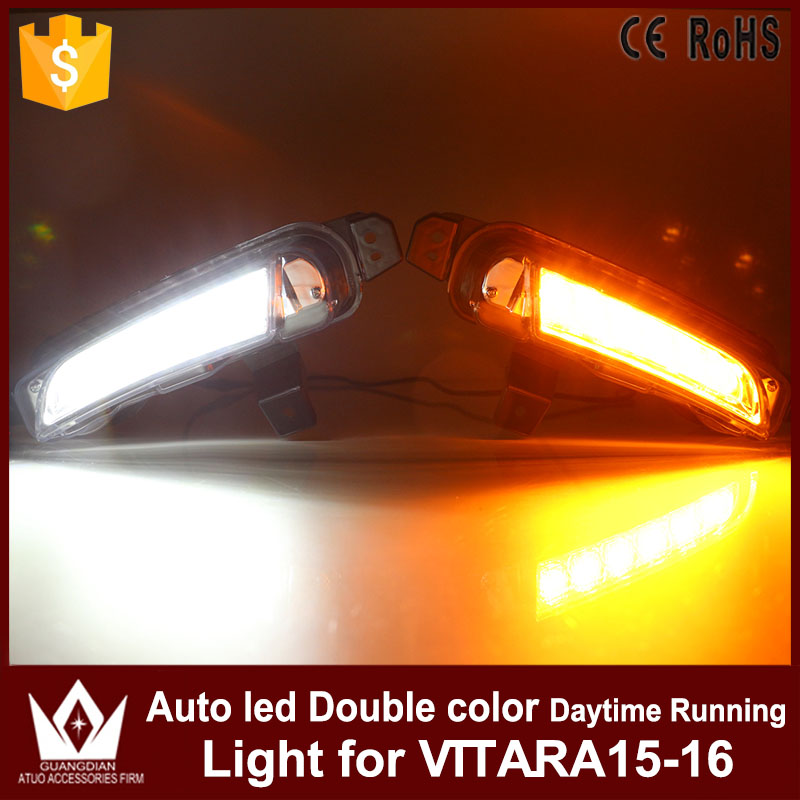 High Quality Car lights DRL Daytime Running Light Daylights Yellow Turning Signal Auto LED Fog Lamp For Suzuki Vitara 2015 2016 high quality h3 led 20w led projector high power white car auto drl daytime running lights headlight fog lamp bulb dc12v
