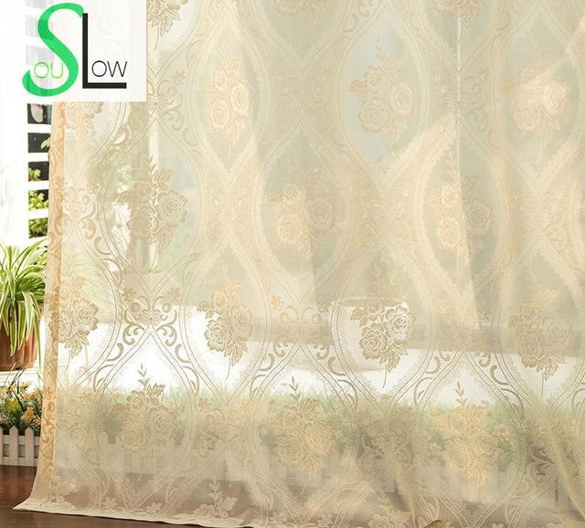 Slow Soul Cream Colored Meihua Beige Curtain Fabric Pleated Europe Floral  Tulle Curtains For Living