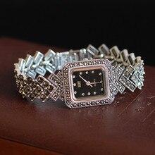 Neue Limited Edition Klassische Elegante S925 Silber Reinem Thai Silber Armband Uhren Thailand Prozess Strass Armreif Dresswatch