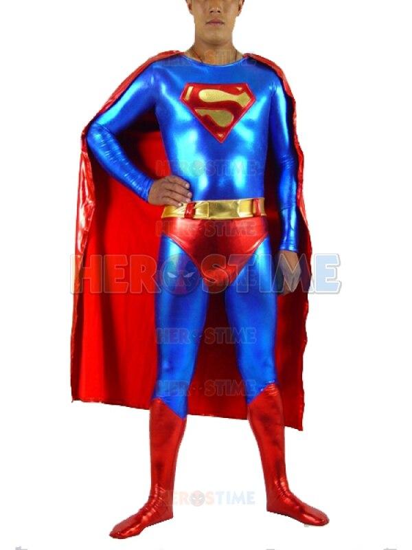 Classic Design Superman Costume Shiny Metallic Superhero Costume With Cape Most Popular Cosplay Zentai Costume