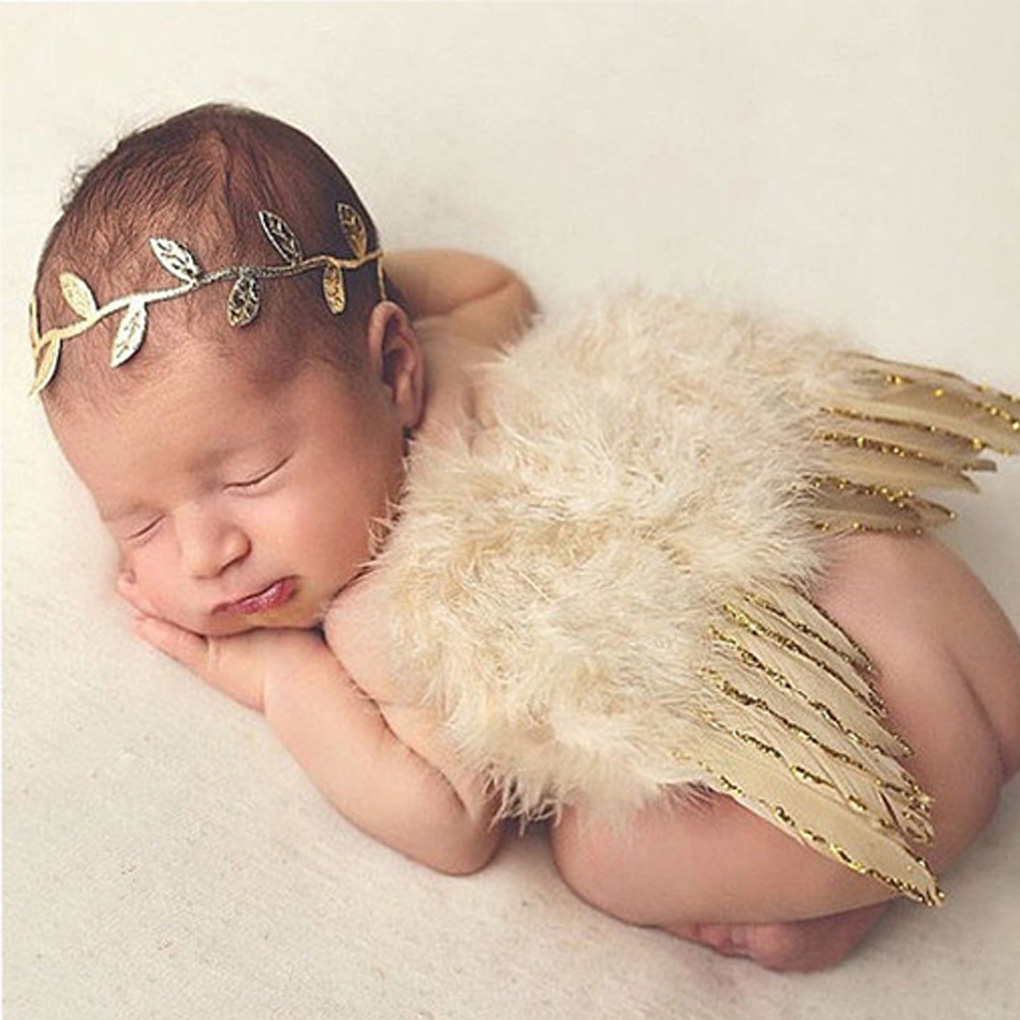 Brand New Baby Newborn Angle Feather Wing And Olive Branch Headband Photograph Prop Suit Infant Clothes Suit