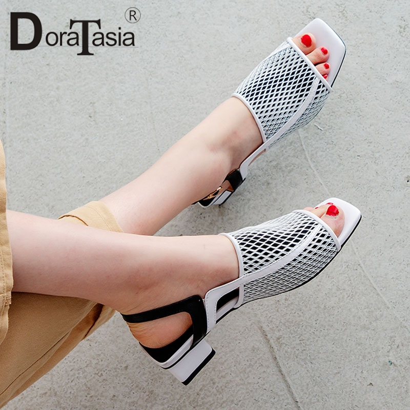 DORATASIA 2019 Genuine Leather Summer Party Elegant Women Shoes Air Mesh Woman Chunky Heel Sandals Shoes Woman