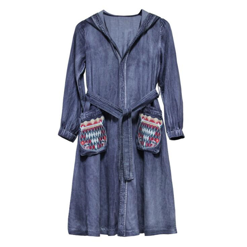 La Femmes Vintage Long À Blue Lâche Broderie Manteaux Denim Cardigans Automne Veste Capuchon Occasionnel D'hiver Manteau Femme Taille Poche Plus rrtdqw0