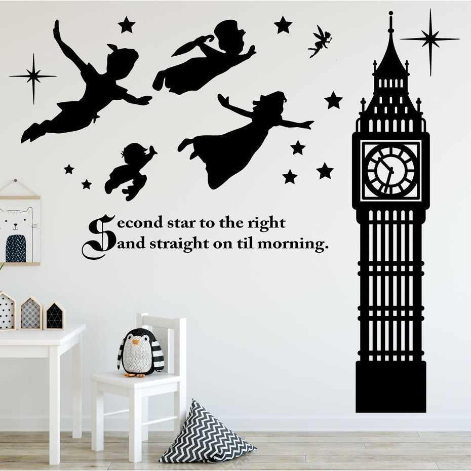 36b82b79979a ... Peter Pan Scene Silhouettes Removable Wall Stickers Stars Big Ben Wall  Art Decal Girls Room Nursery ...