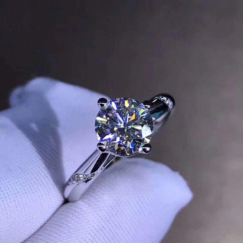 14K สีขาวทอง 1ct 2ct 3ct Moissanite แหวนเพชรหรูหราเครื่องประดับงานแต่งงานแหวนหมั้นแหวนเพชร-ใน ห่วง จาก อัญมณีและเครื่องประดับ บน   1