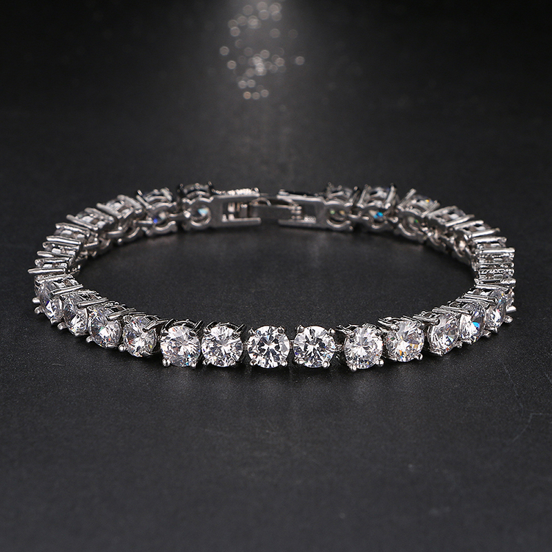 Emmaya kāzu rokassprādze ar cirkonu rotaslietas, augstas kvalitātes AAA kārta, ar 0,5 karātu karšu izveidotu tenisa šarmu aproce