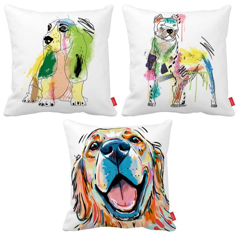 Pop Art Cute Pit Bulldog Dog Pet Print Car Decorative Throw Pillowcase Pillow Case Cushion Cover Sofa Home Decor