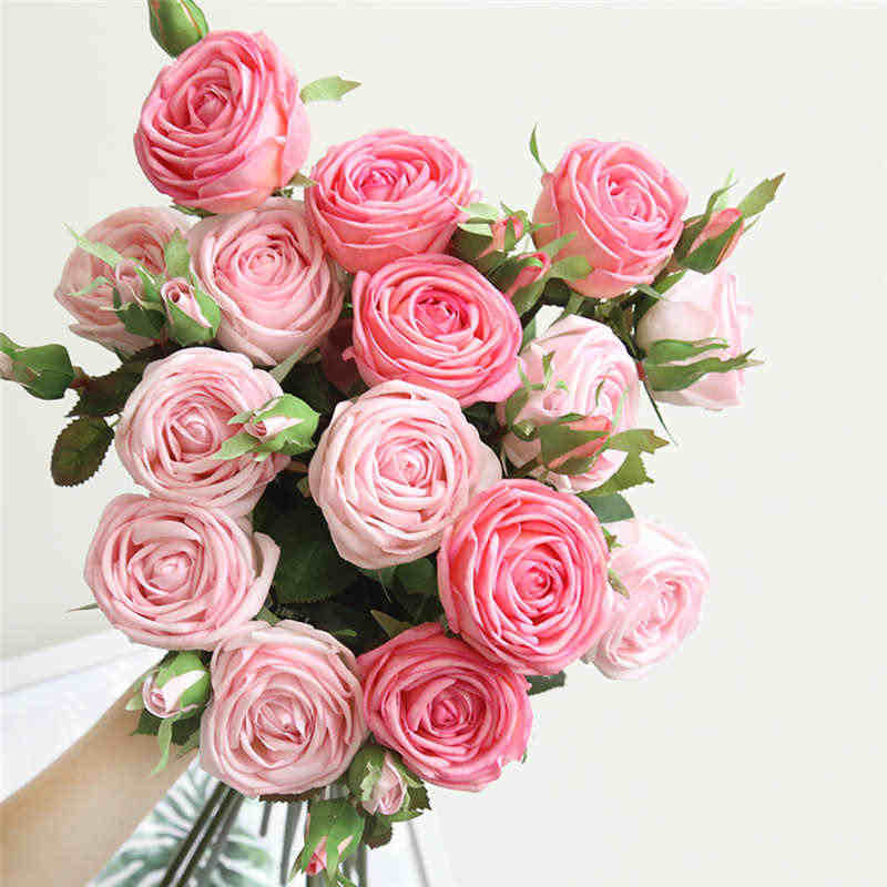 Artificial Silk Fake Flowers Rose Floral Wedding Bouquet Bridal Hydrangea Decor bouquet for decoration silk Brand New19APR22
