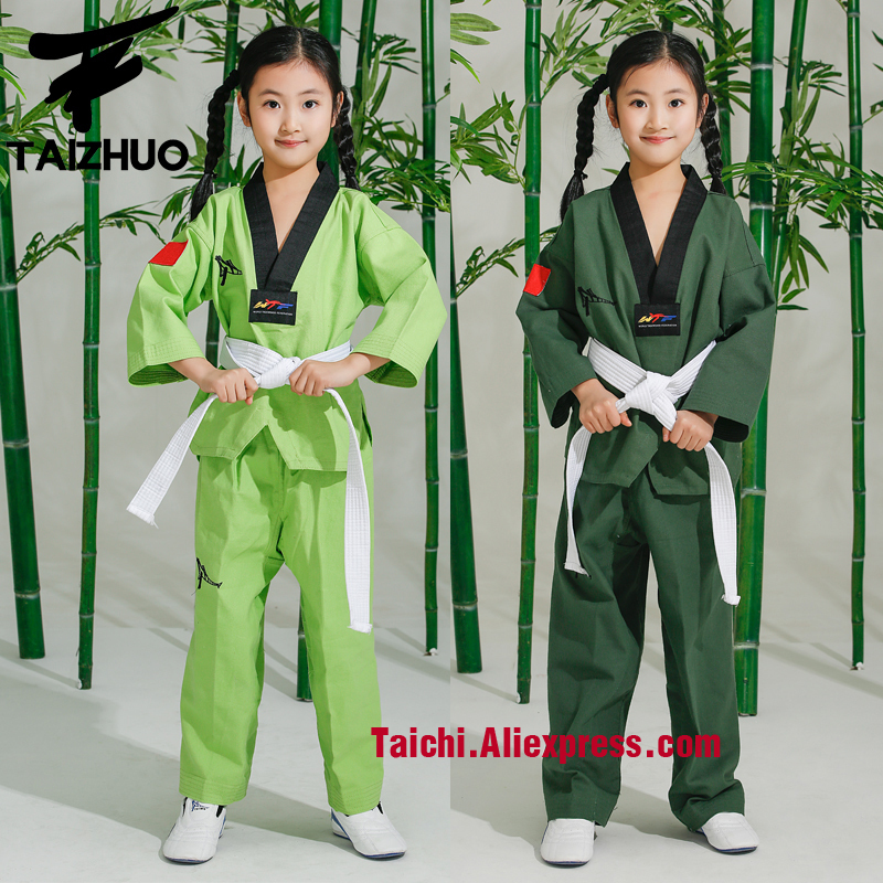 Children Taekwondo Uinform For Poomsae & Training,WTF Uniform,110-155cm White,red,pink,rose,yellow,green,Violet,light Green