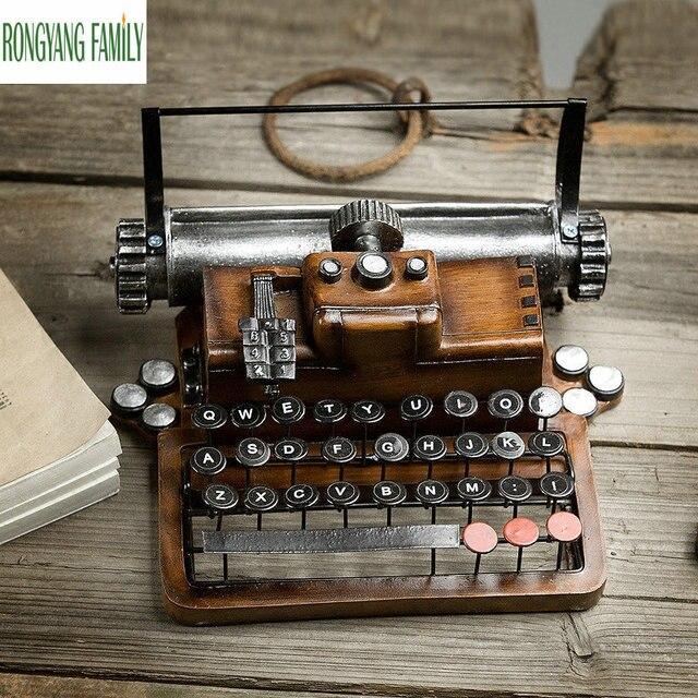 Retro Resin Metal Typewriter Figurines Handicrafts Vintage Antique