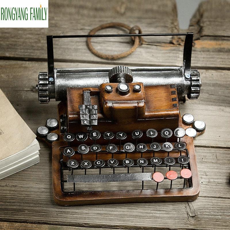 Retro Resin Metal Typewriter Figurines Handicrafts Vintage Antique Marking Machine Miniatures Model Home Decoration Crafts Gift