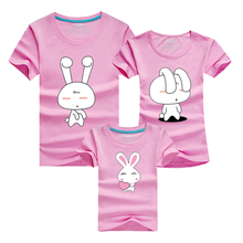 Korean Family Shirts 2016 Men Rabbit Cartoon T-shirt Sport Gym Clothing Skate Cotton Tshirt Homme Polera Mother Daughter Outfits