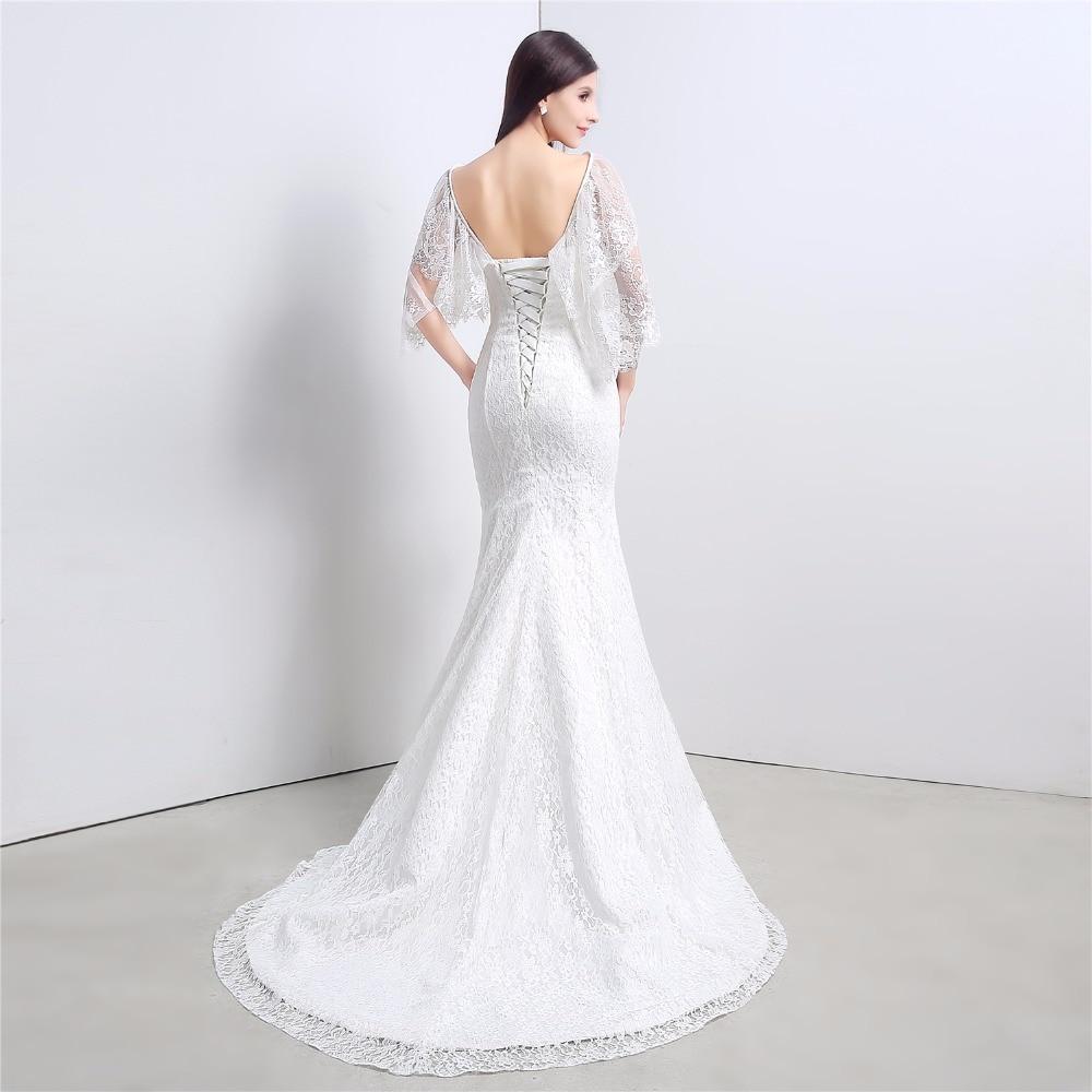 Modest Lace Mermaid Wedding Dress Corset Back Sweetheart Robe De ...