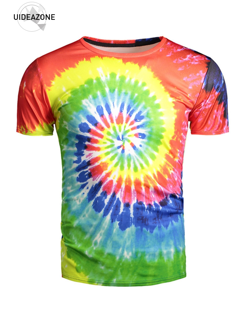 UIDEAZONE Excellence Store 3D Rainbow T Shirt Wormhole Artistic T-shirt Multicolor Fashion Tees Men Women Short Sleeve Tee Tops Brand Clothing XXL Dropship