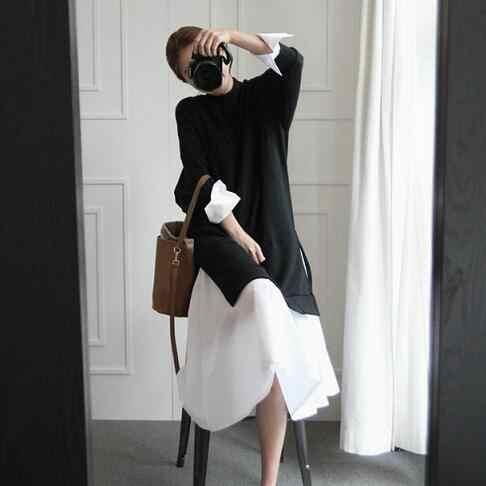 Новинка 2019, весенний однотонный Женский свитшот с круглым вырезом и длинными рукавами, черный и белый цвета, DC578