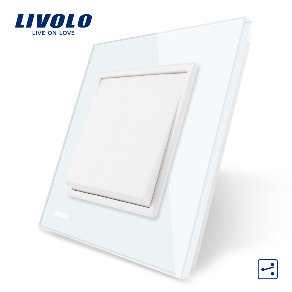 Livolo Manufacturer EU standard Luxury White/Black crystal glass panel, Push button 2 Way switch, VL-C7K1S-11/12 livolo luxury white crystal glass panel push button 1 gang 2 way switch vl c3k1s 81